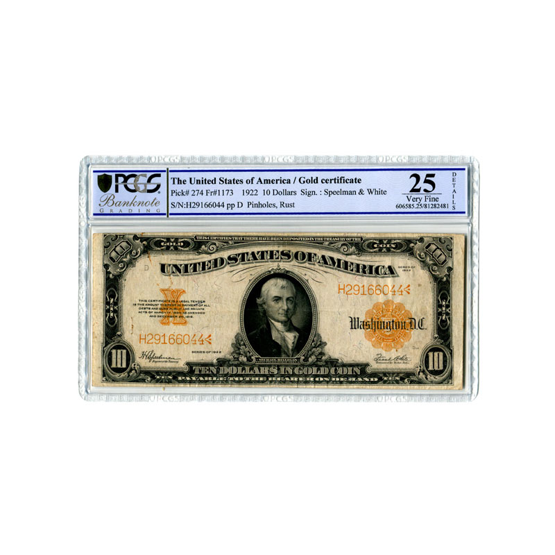 United States Of America Gold Certificates 10 Dollars In Gold Coin