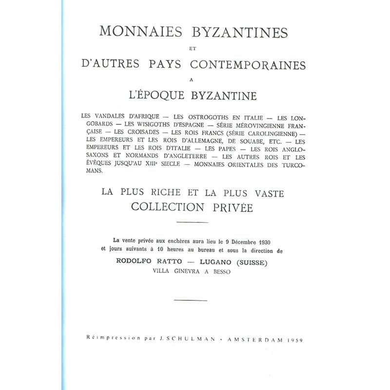 RATTO R.   Monnaies byzantines