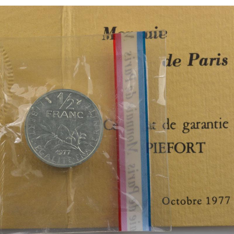 G.429P   1/2 Franc   1977  Piéfort en argent    FDC