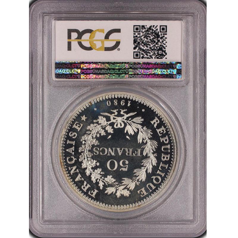 G.882P   50 Francs   1980  Piéfort en argent    PCGS-SP68    FDC