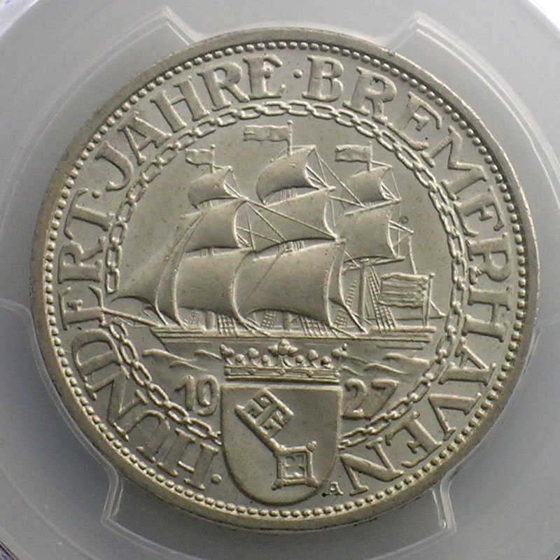 3 Reichsmark   1927 A   Hundert Jahre Bremerhaven    PCGS-MS65    SUP/FDC