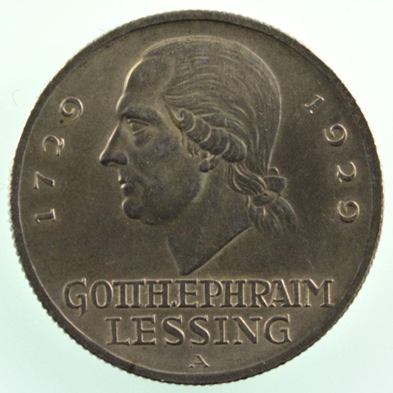 3 Reichsmark   1929 A   Gotthold Ephraim Lessing    SUP