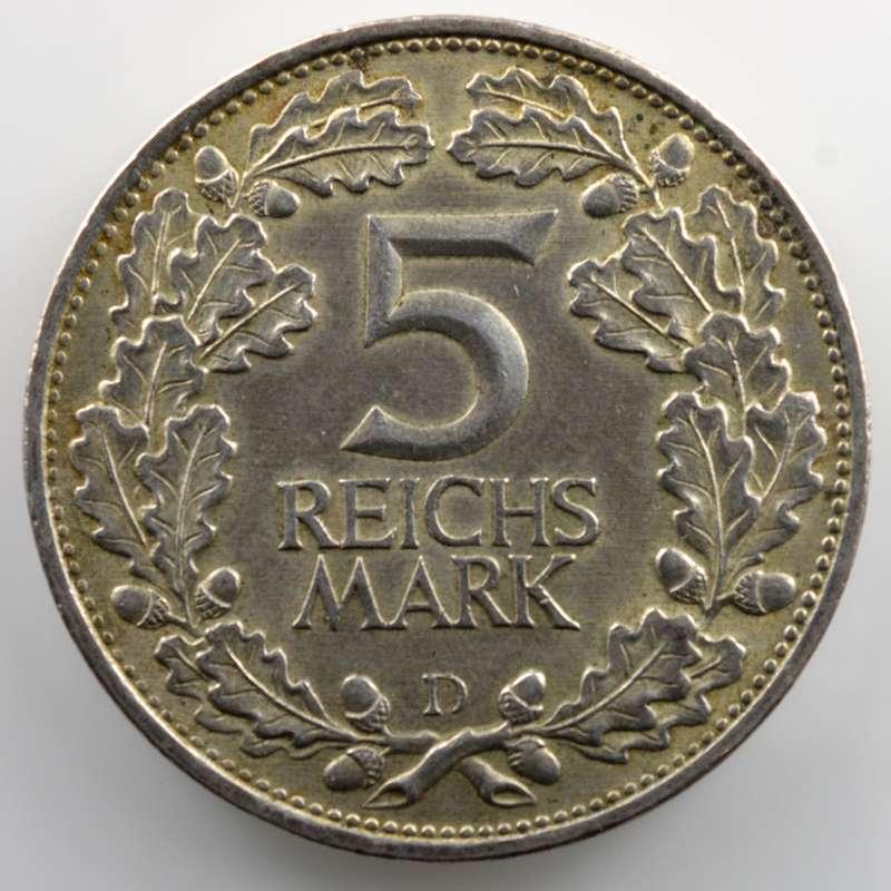 5 Reichsmark   1925 D   Rheinlande    TTB+