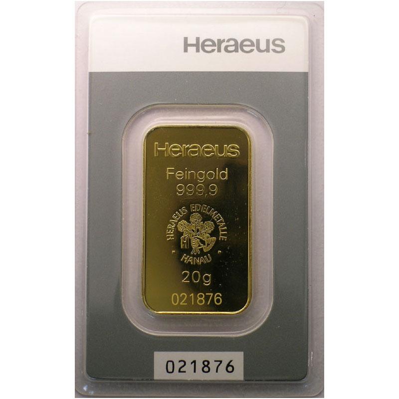 Lingotin 20 g or 999,9 mill.   Fondeur HERAEUS Edelmetalle GmbH Hanau (Allemagne)     NEUF numéroté