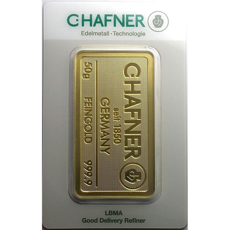 Numismatic foto  Coins Gold and Silver Lingots d'or Lingotin de 50 g Lingotin 50 g or 999,9 mill.   C-HAFNER seit 1850  Germany    NEUF sous blister numéroté