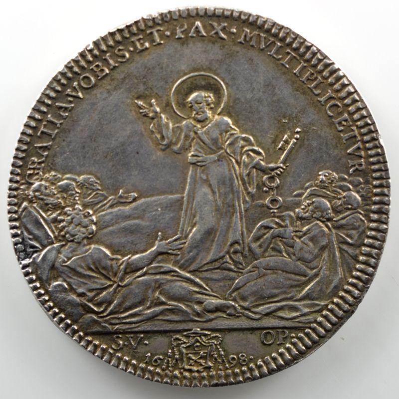 Ferdinand de Saint-Urbain   Piastre en argent  45mm   Saint-Pierre debout   1698    SUP