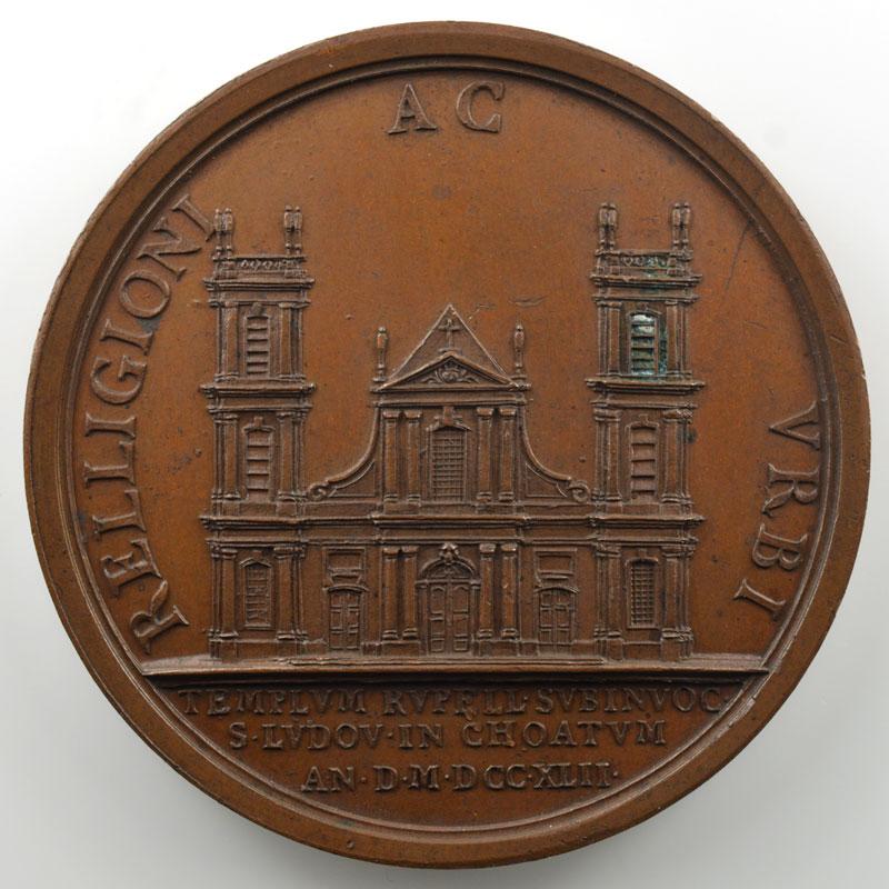 Construction de la Cathédrale Saint-Louis de la Rochelle   Médaille en bronze  52mm   1742    SUP