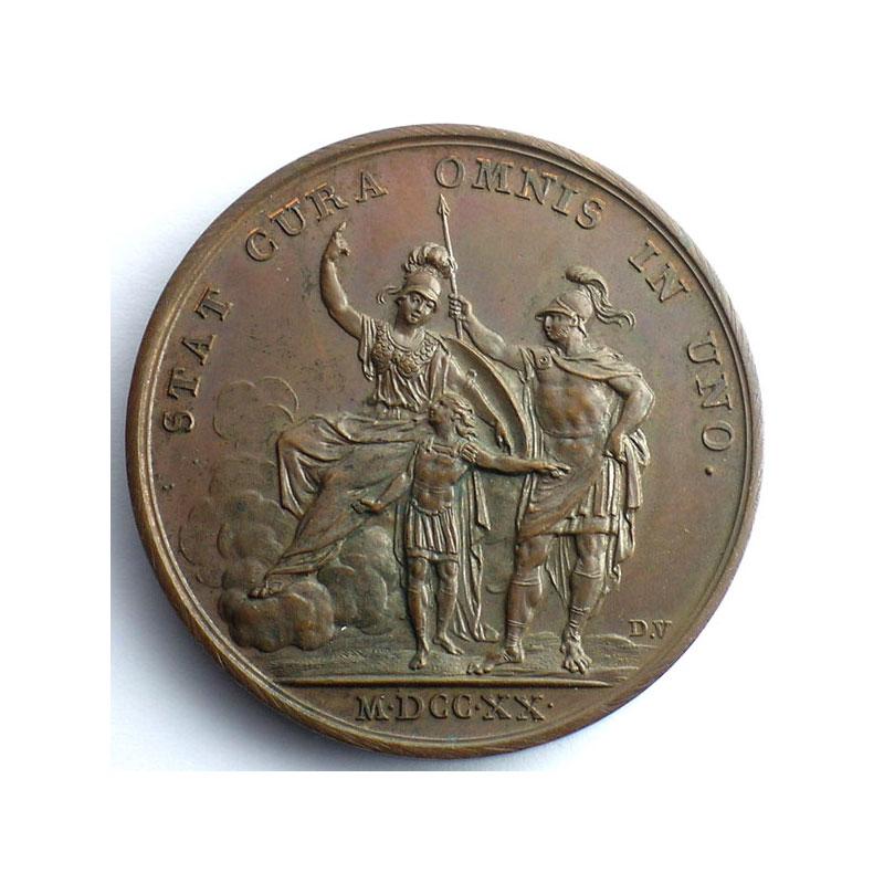 Roettiers/J.Duvivier   L'instruction du Roi   bronze   41mm    SUP/FDC