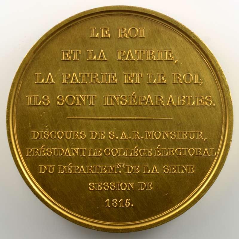 GATTEAUX   Médaille en bronze doré  60mm   Charles Philippe de France, Monsieur, frère du Roi   1815    SUP