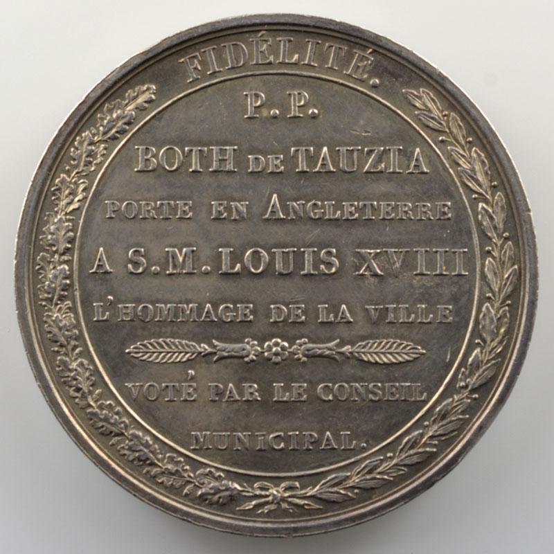 Andrieu   Médaille en argent  40mm   Entrée du duc d'Angoulême à Bordeaux - Départ de Both de Tanzia pour l'Angleterre    pr.SUP