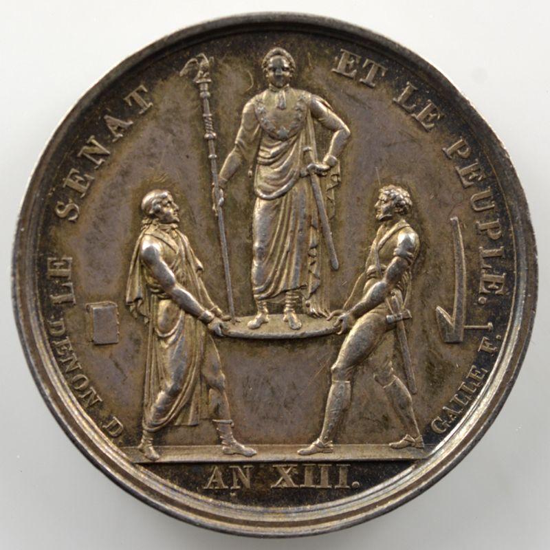 Denon, Droz, Galle   Médaille en argent   An XIII   Couronnement et Sacre   SUP