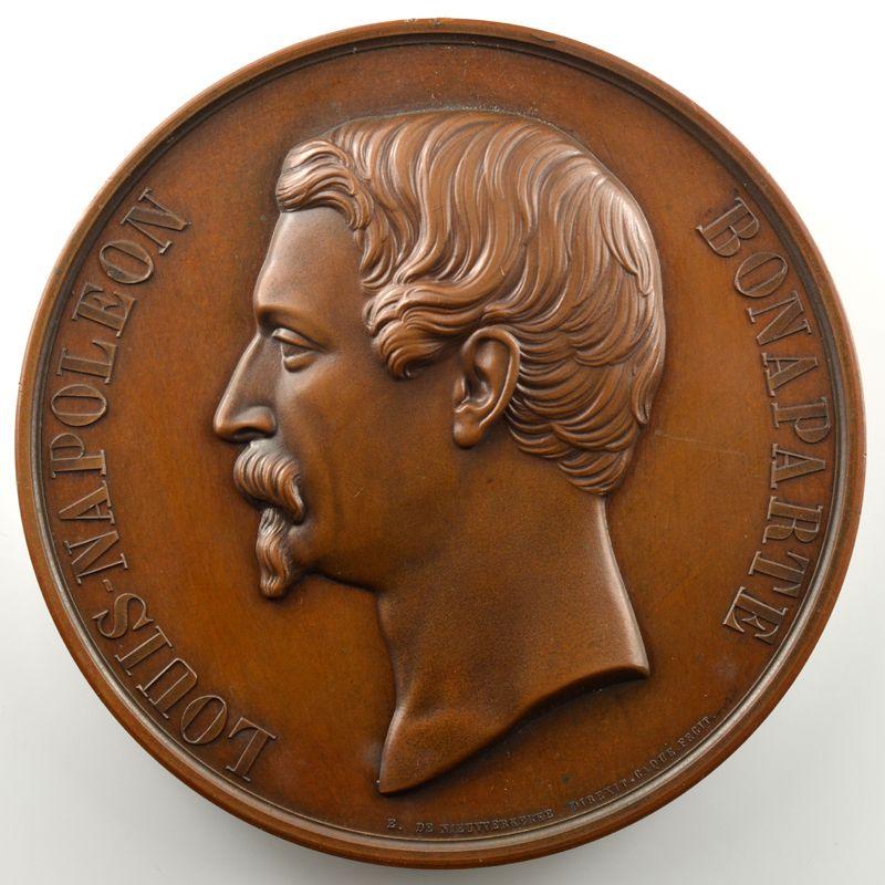 CAQUE   Médaille en cuivre  78mm   Louis-Napoléon Bonaparte   25 juillet 1852   Pose de la première pierre    SUP