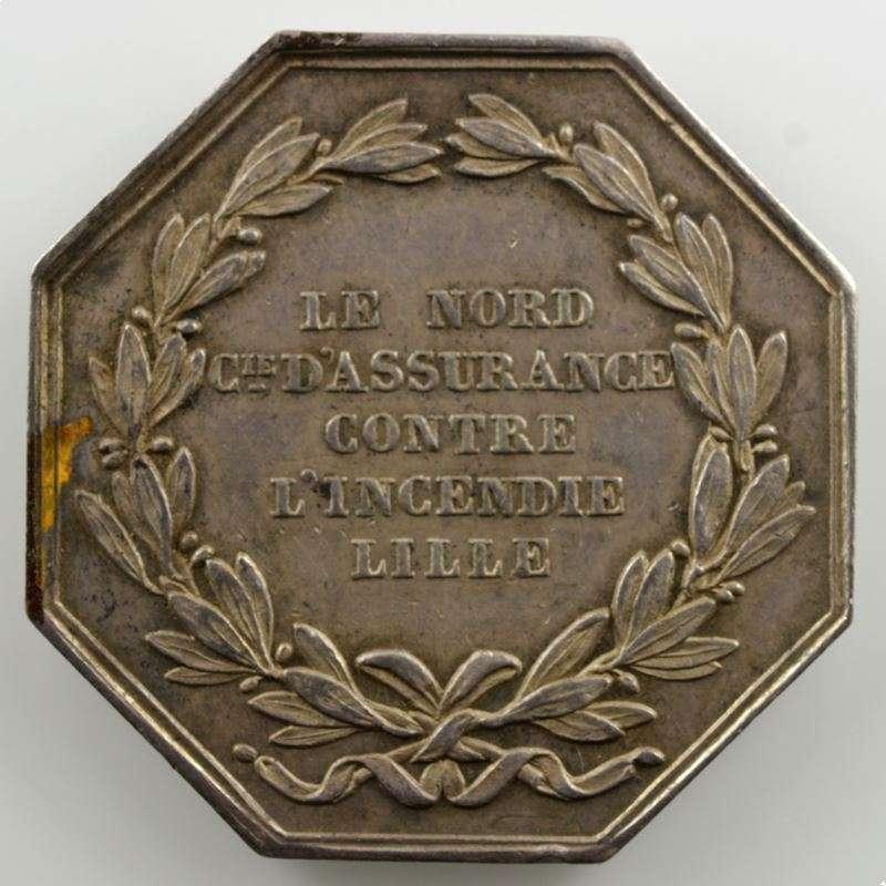 Jeton octogonal en argent   30mm   Louis-Philippe I   Lille   Incendie    SUP