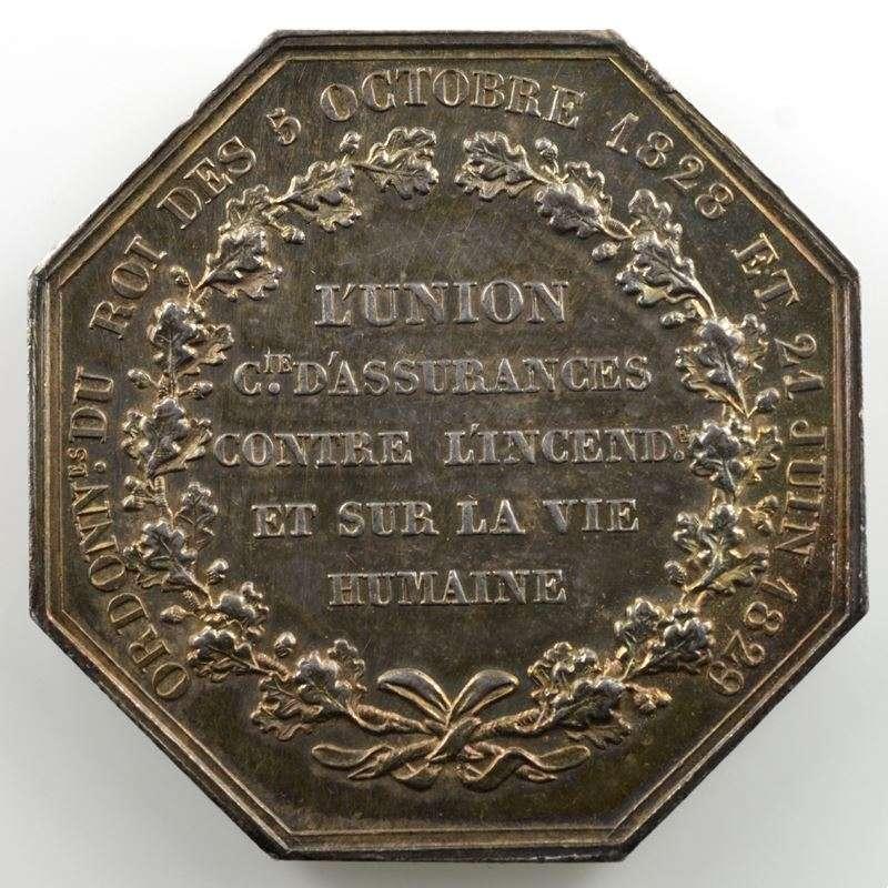 Jeton octogonal en argent   36mm   Louis-Philippe I   Incendie - Vie    SUP/FDC