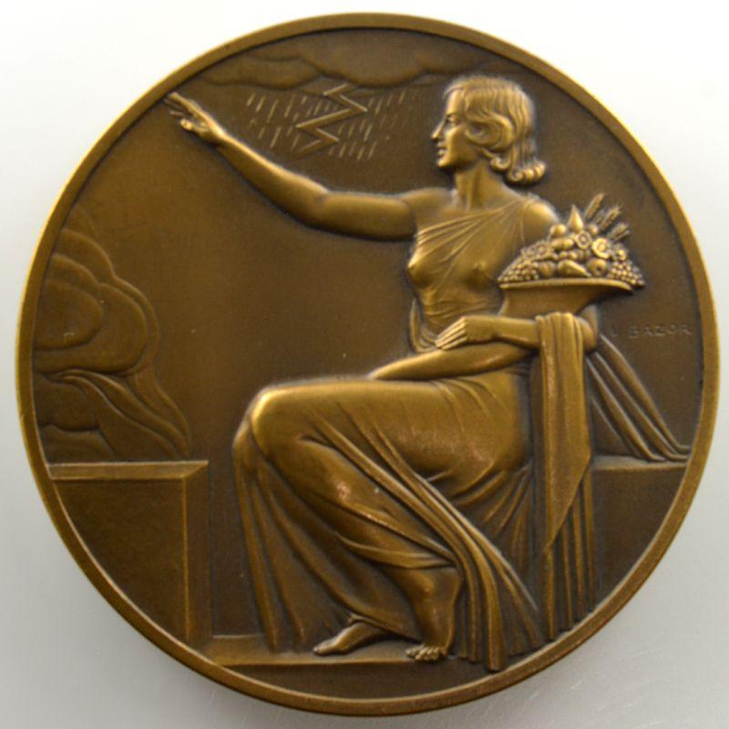 L. Bazor   Médaille en bronze   67mm   l'Urbaine   1838-1938  (Assurances contre l'Incendie)    SUP/FDC