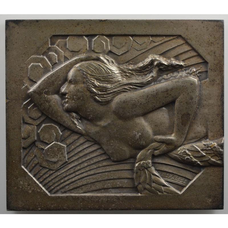 Fraisse F.   plaque rectangulaire en bronze argenté  63x56mm   Meeting des routes pavées   1929    SUP/FDC
