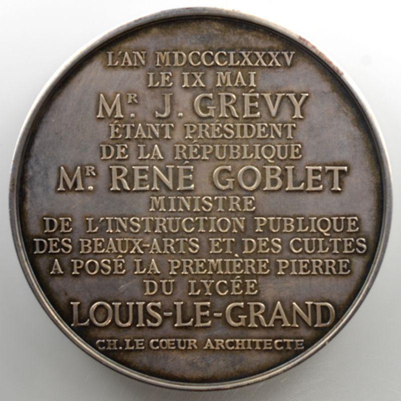 Andrieu   Médaille en argent  68mm   Pose de la première pierre du lycée Louis-le-Grand   9 mai 1885    SUP