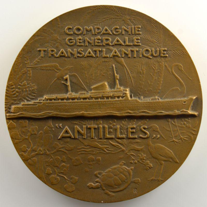 DELAMARRE   Médaille en bronze  55mm   Compagnie générale transatlantique   Paquebot Antilles (1953)    SUP/FDC