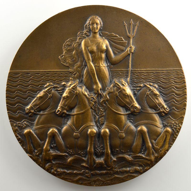 L. BAZOR   Médaille en bronze  68mm   Compagnie de Navigation Sud-Atlantique   L'Atlantique   1931    SUP/FDC