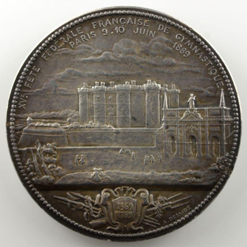 ROTY O.   Médaille en argent   50mm   Centenaire de la Prise de la Bastille   1789-1889    TTB+/SUP