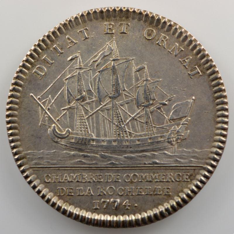 Jeton rond en argent  29mm   Louis XVI   Chambre de Commerce de La Rochelle   1744    SUP