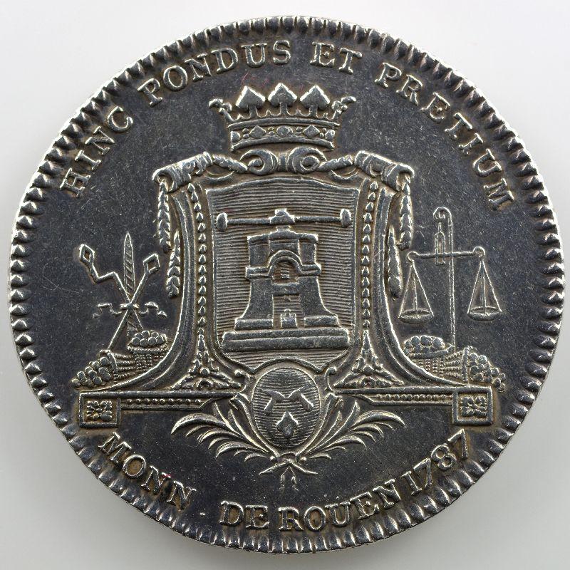 Jeton rond en argent 31mm   Monnaie de Rouen   Louis XVI   1787    TTB+