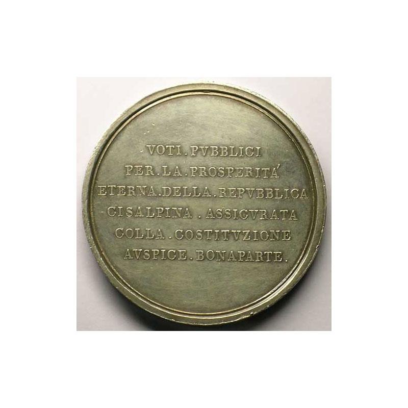 MANFREDINI   Constitution de la république italienne à Lyon   argent   54,6mm    SUP