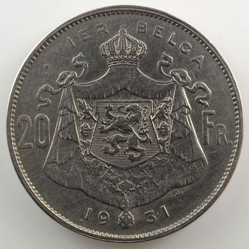 20 Francs - 4 Belga   légende flamande   1931  position A    TB+/TTB