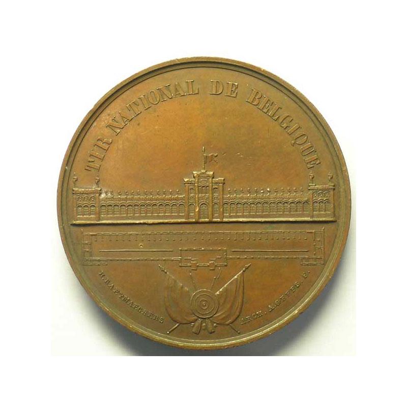 RAEYMAECKERS/GEEFS   Tir National de Belgique inauguré par le Roi Léopold I   sept. 1861   bronze   45mm    TTB+/SUP