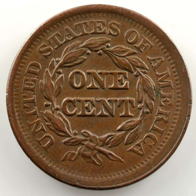 One Cent   1852   Braided hair cent    TTB+