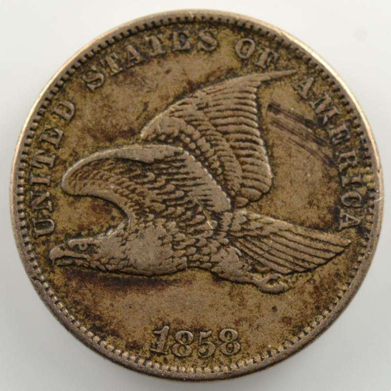 One Cent   1858   Flying Eagle Cent    TB+