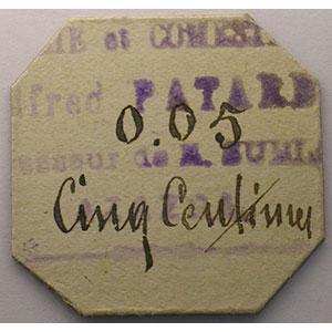 0,05 (F) - 5 centimes   carton    SUP