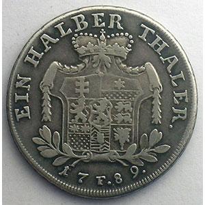 1/2 Thaler   1789 F    TB+