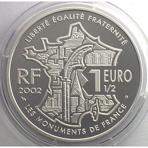 1,5 €   Les monuments de France - La butte Montmartre   2002   37mm   22,2 g - Ag 900 mill.    BE