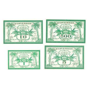 1, 5, 10 & 500 Francs    NEUF