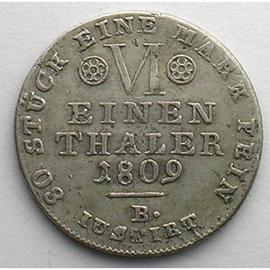 1/6 Thaler   1809 B    TB+