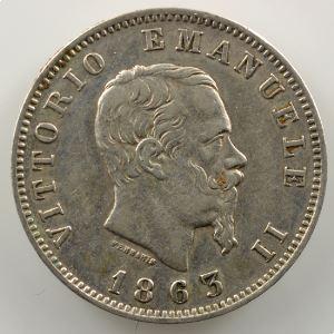 1 Lira   1863 M BN  (Milan/Milano)    TTB