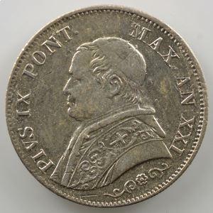 1 Lire   1866 R  (Rome)  Année XXI  buste moyen    TTB+