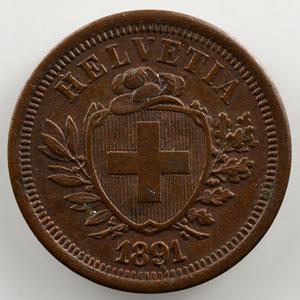1 Rappen   1891 B    TTB+/SUP