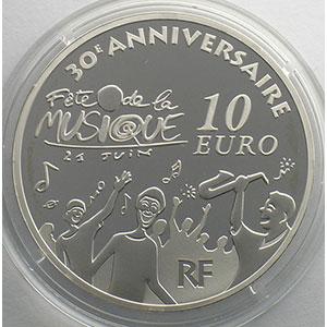 10 €   Europa - 30° anniversaire de la Fête de la Musique   2011   37mm   22,2 g - Ag 900 mill.    BE