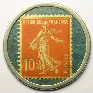 10 Cent rouge/bleu   papier quadrillé    SUP