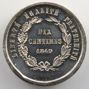 10 Centimes   1849   Concours de Pillard   flan épais en étain, tranche lisse    SUP