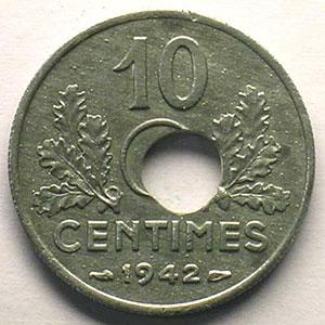 10 Centimes 1942    TTB+