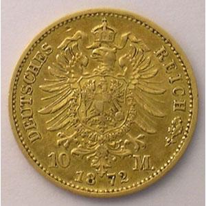10 Mark   1872 G  (Karlsruhe)    TTB