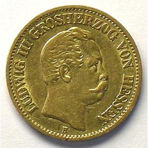 10 Mark   1872 H  (Darmstadt)    TTB
