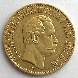 10 Mark   1872 H  (Darmstadt)    TTB+