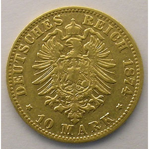 10 Mark   1874 D  (Münich)    TB+/TTB