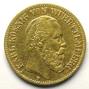 10 Mark   1874 F  (Stuttgart)    TB+