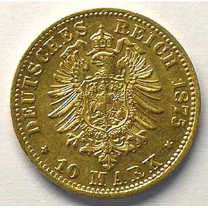 10 Mark   1875 D  (Münich)    TTB/TTB+
