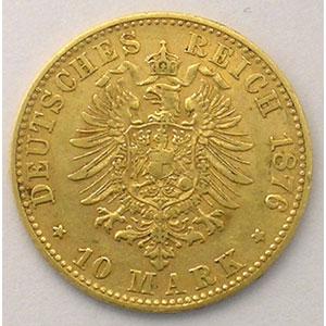10 Mark   1876 F  (Stuttgart)    TTB